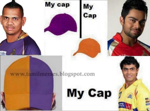 Sir Jadeja's own version of IPL cap.....LMAO
