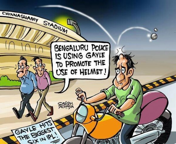 Bangalore Police to ask Chris Gayle to help them promote use of helmet....LOL