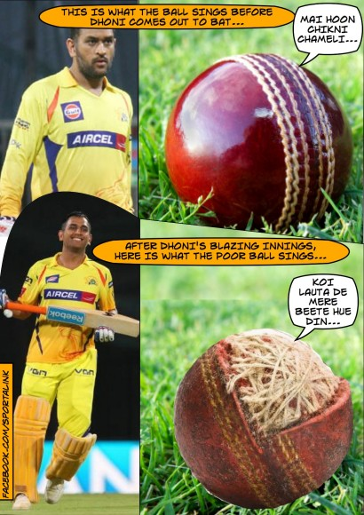 Dhoni and the poor cricket ball