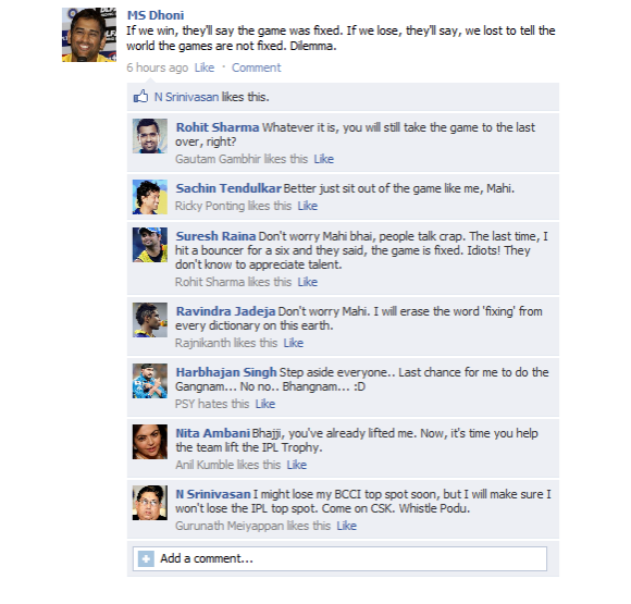MS Dhoni's FB wall before the final