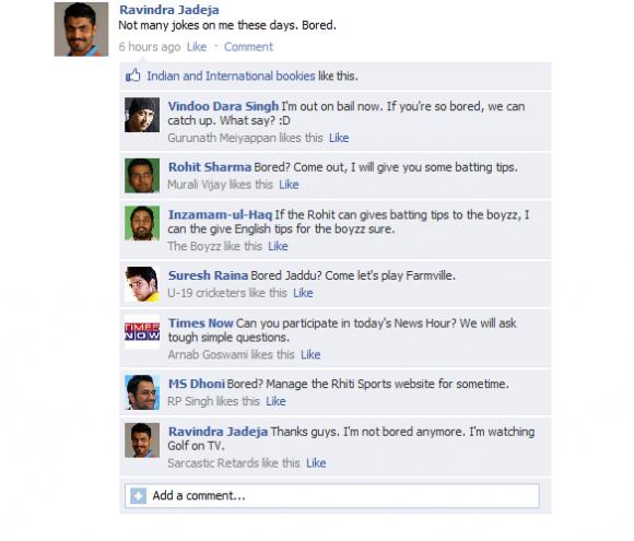 Fake FB Wall - Sir Ravindra Jadeja is bored