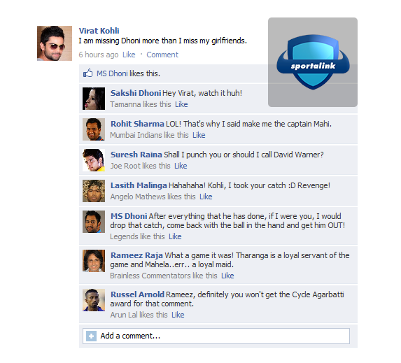 Virat Kohli is missing MS Dhoni - Fake FB Wall