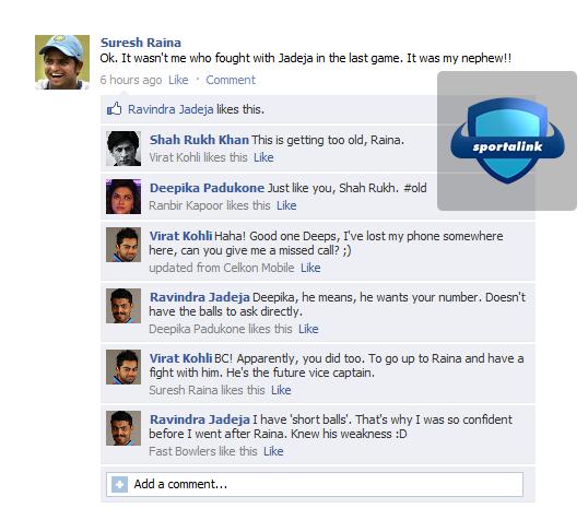Raina Fake FB Wall - After Argument with Sir Jadeja