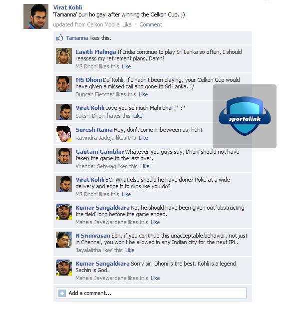 Fake FB Wall - Virat Kohli after winning the Celkon Cup