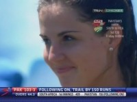 Beautiful girl at the cricket ground