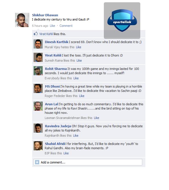 Fake FB Wall - Shikhar Dhawan after scoring a century :P