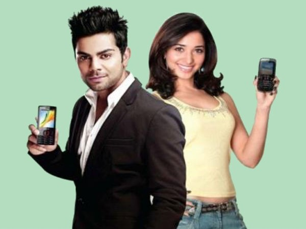 Virat Kohli and Tamanna promoting Celkon Mobile