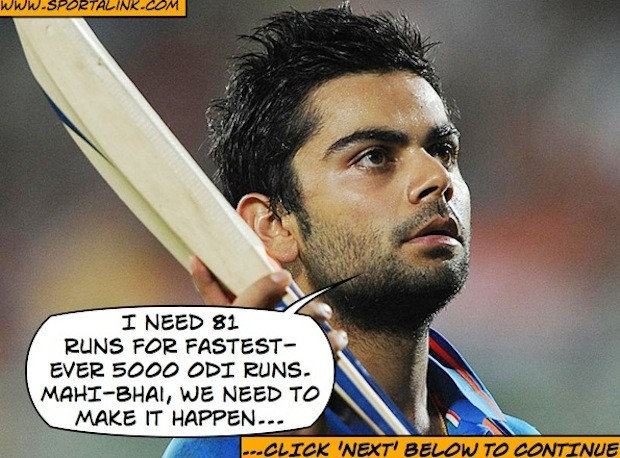 Virat Kohli needs 81 runs for fastest-ever 5000 ODI runs
