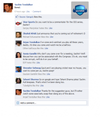 FAKE Facebook Wall - Sachin Tendulkar is bored at Home