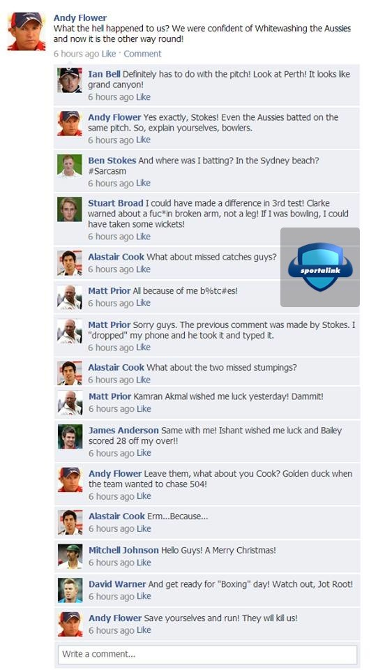England Team after losing the Ashes :P