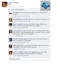 Sachin is BORED and updates his facebook wall :P