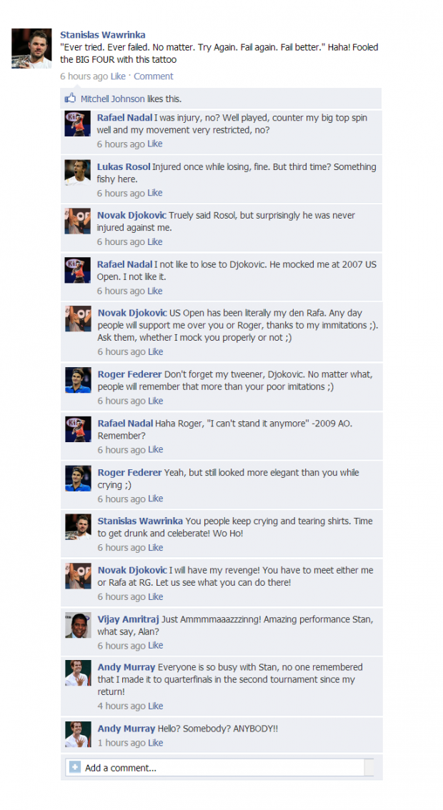 Stanislas Wawrinka's FB Wall Revealed