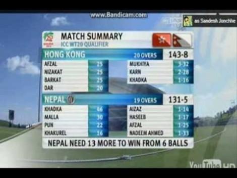 Last over-Nepal vs Hongkong (ICC World T20 qualifiers 2013) : Cracker of a Match